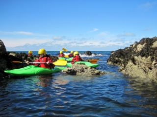 kayak group taster session in Trearddur Bay