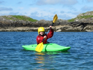 young kayaker near Trearddur Bay